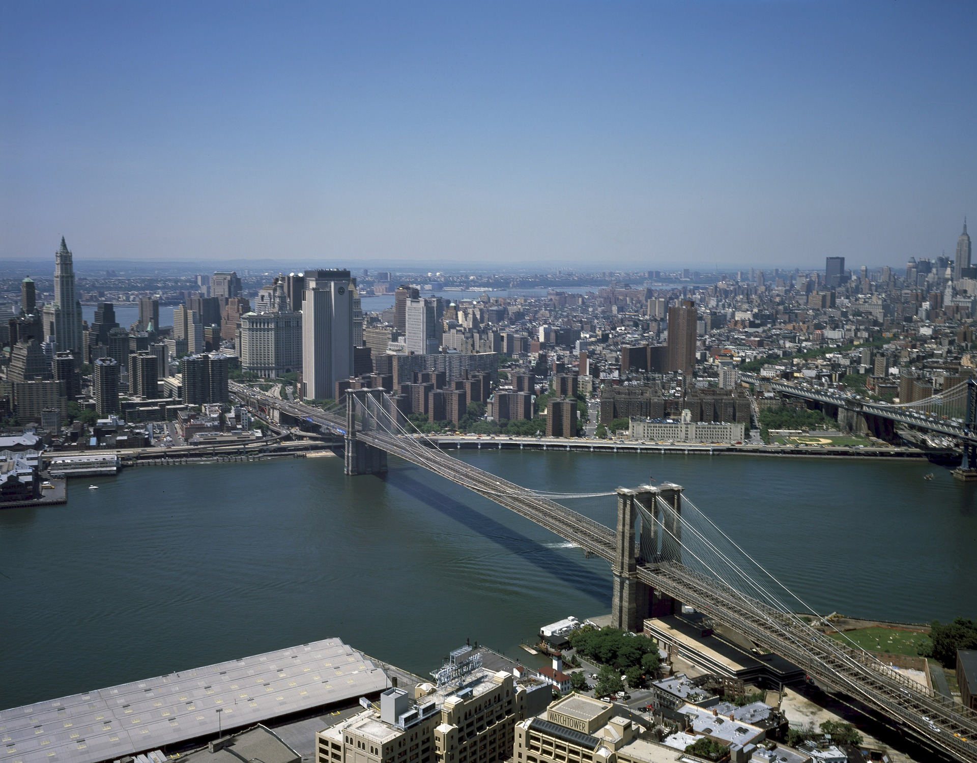 Aerial View of Brooklyn Bridge and Manhattan, New York City