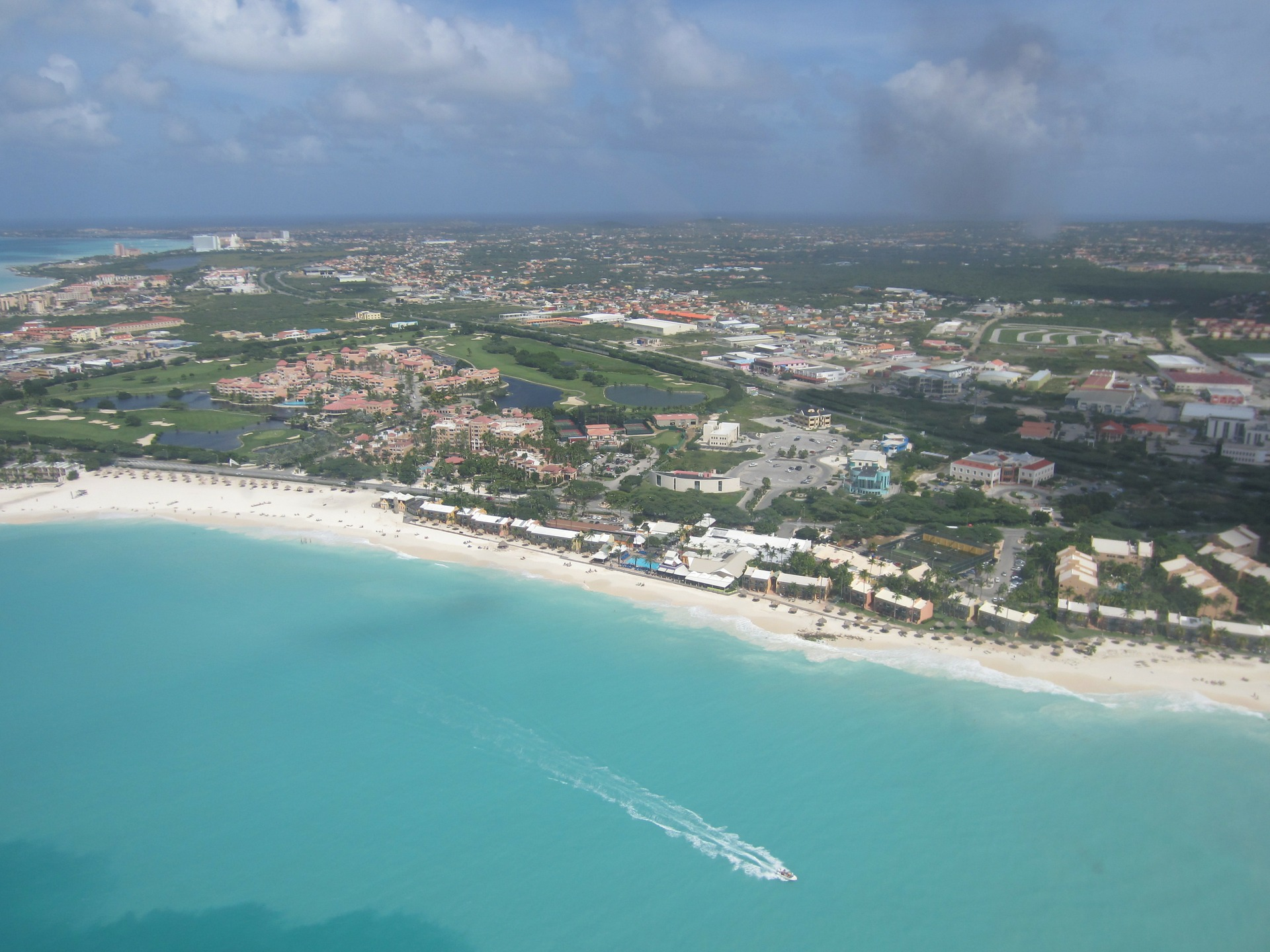 Aerial view of beach in Aruba