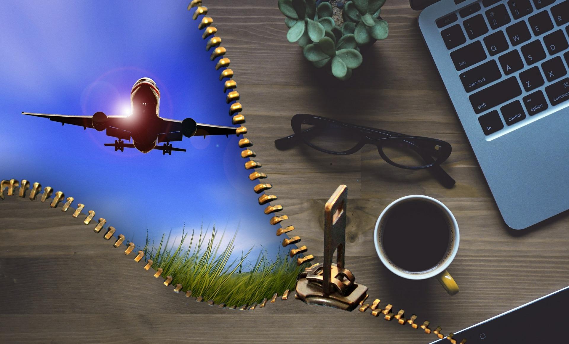 Aeroplane and laptop