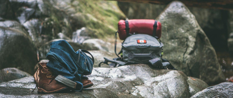 Backpacks on rocks