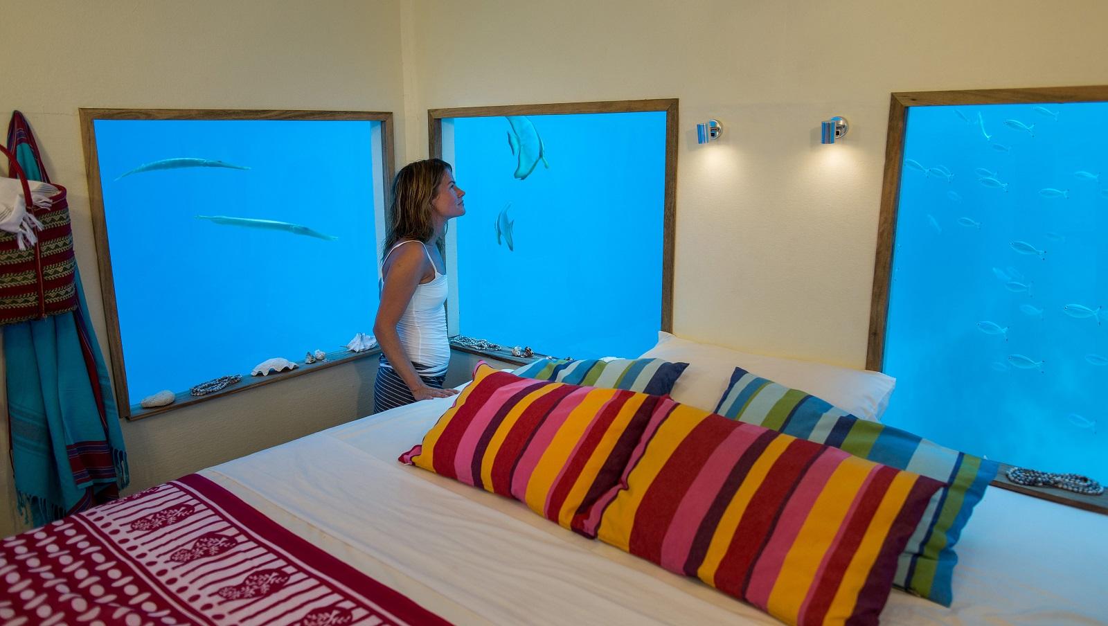 Inside the Underwater Room at Manta Resort-Pemba Island, Zanzibar