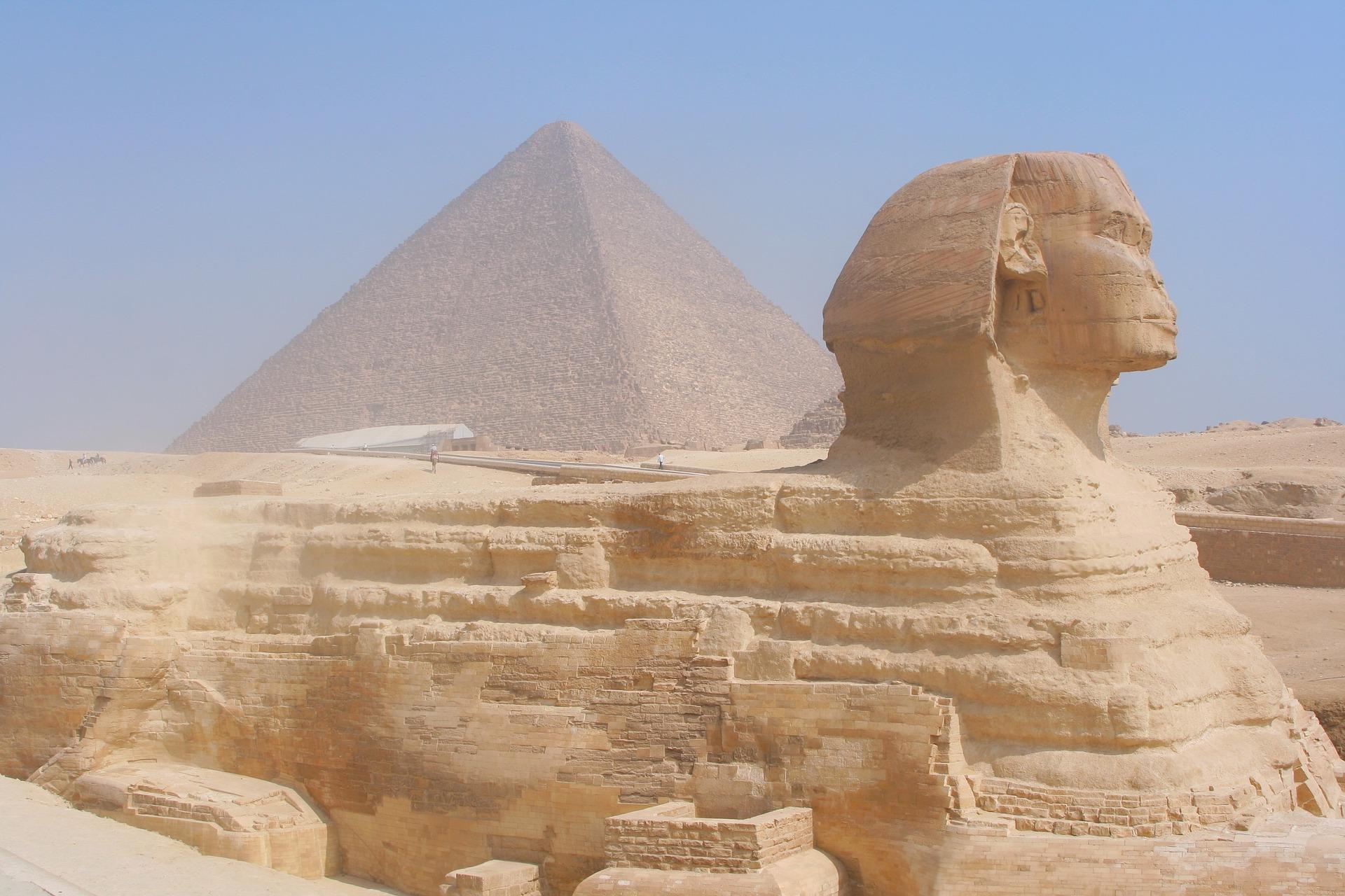 Sphinx at the Pyramids at Giza, Egypt
