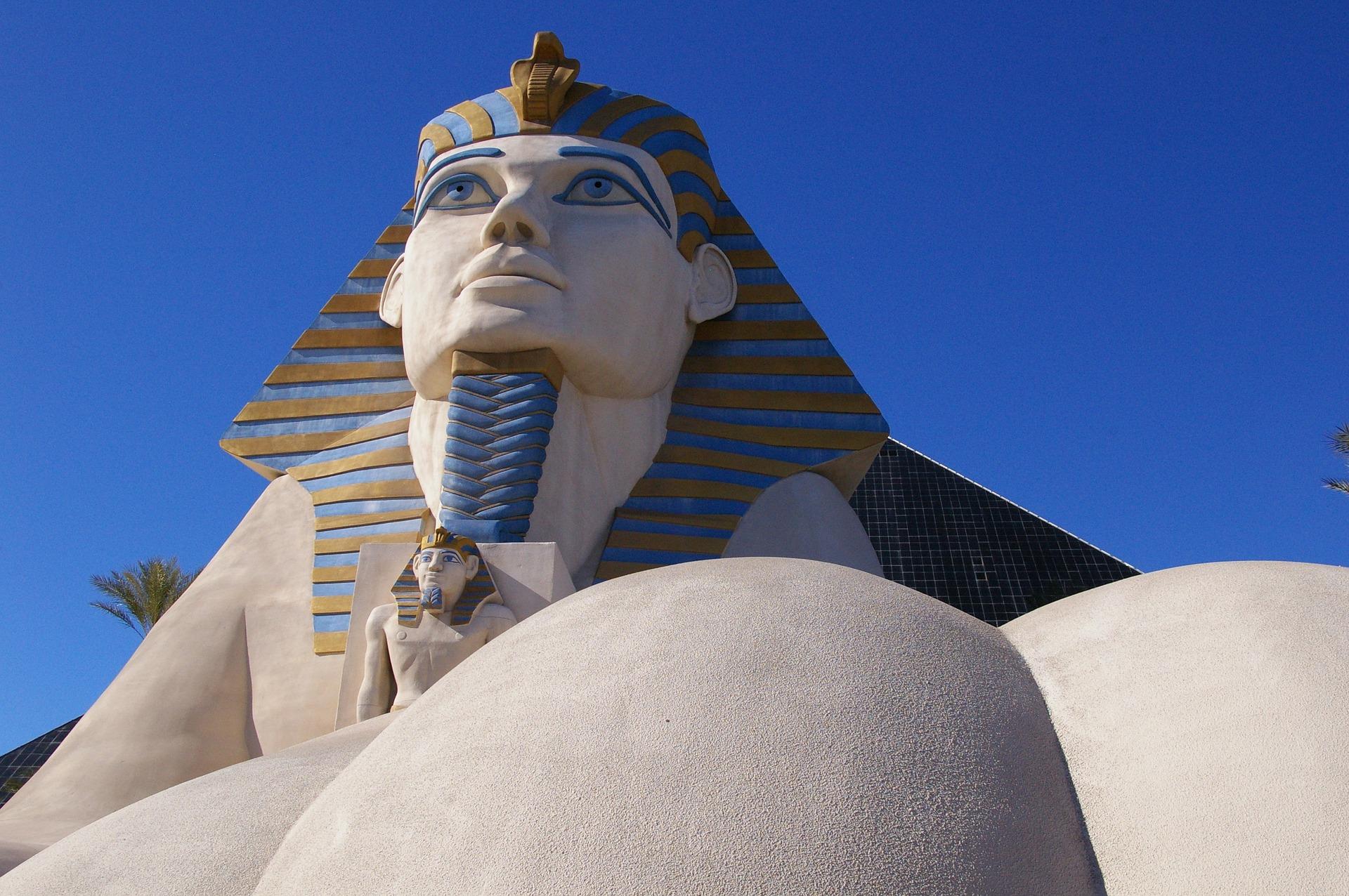 Sphinx statue at the Luxor Hotel and Casino in Las Vegas Nevada