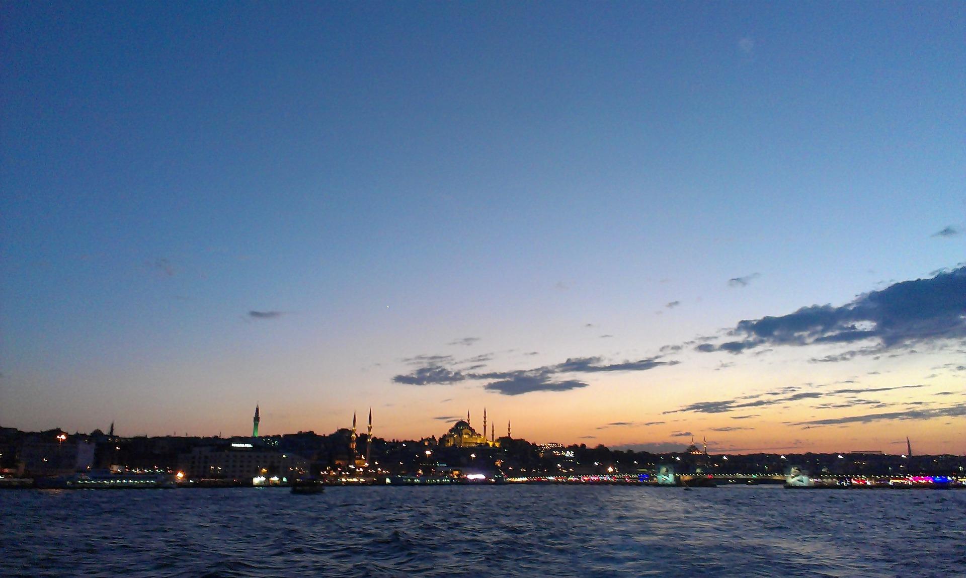 Sunset over the the Bosphorus, Istanbul, Turkey