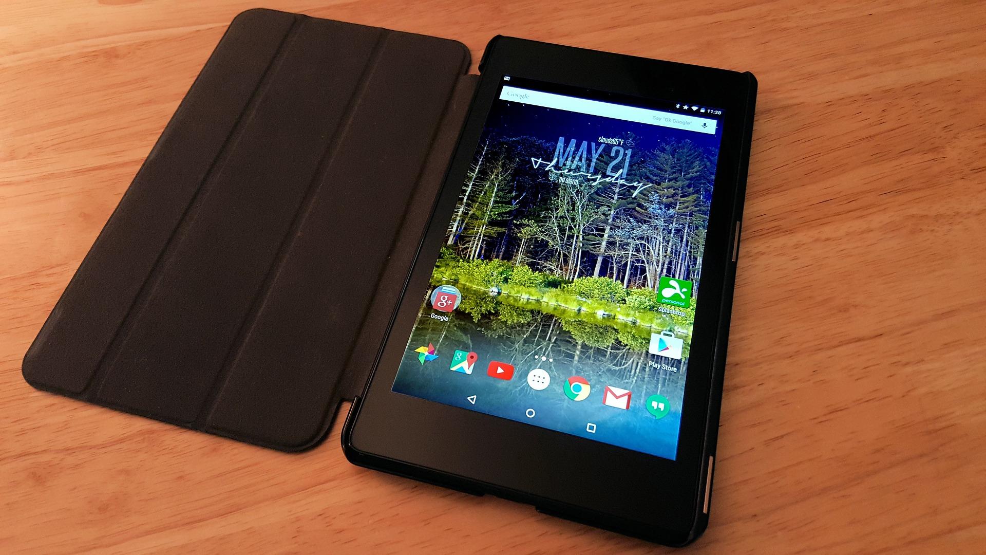 Tablet in black case