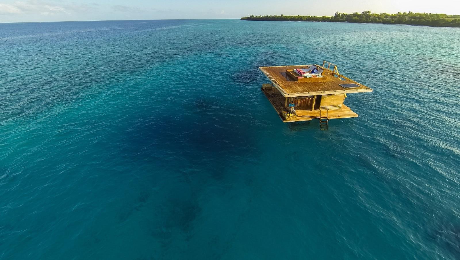 The Underwater Room at Manta Resort-Pemba Island, Zanzibar in the sea