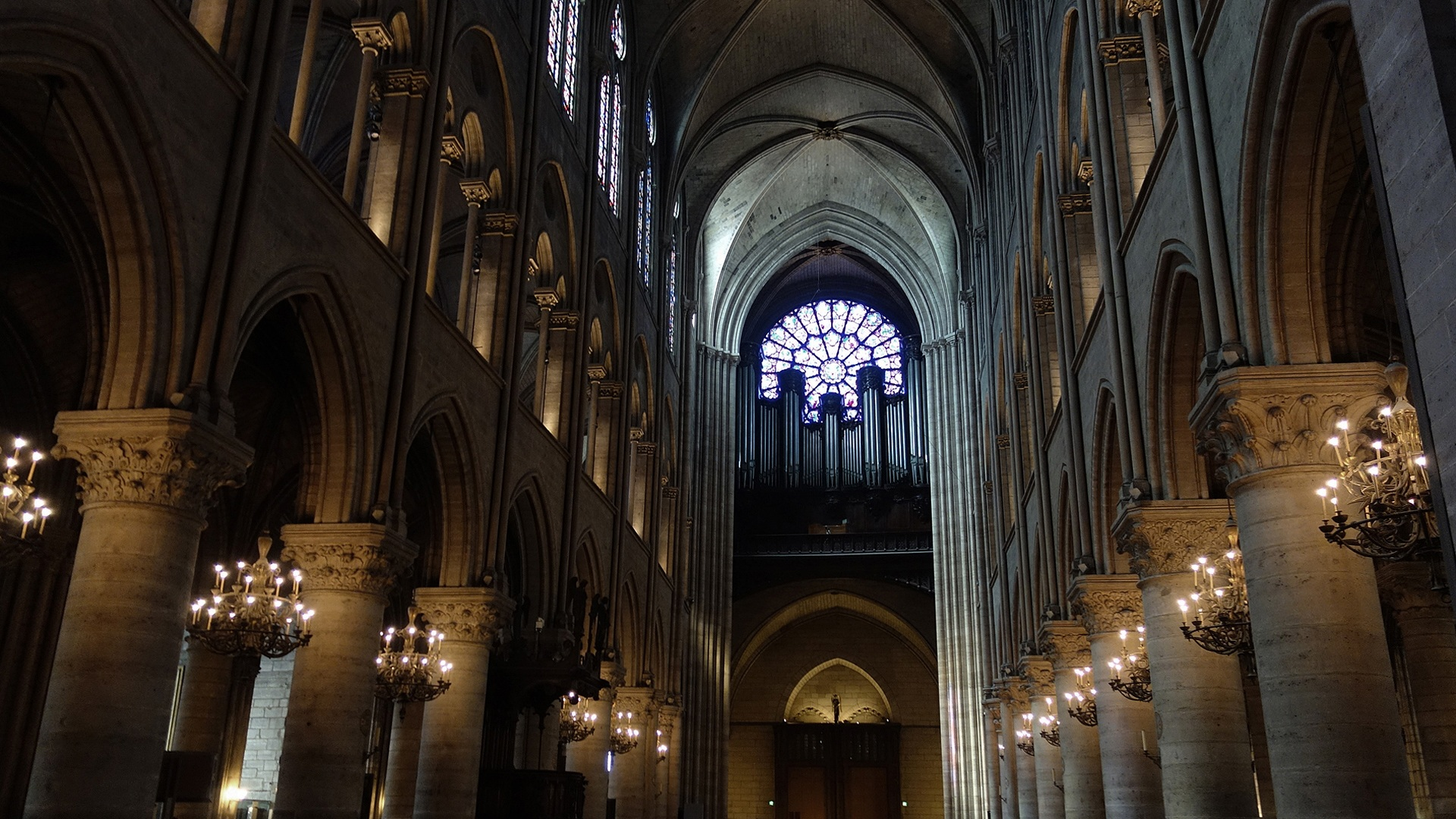 Inside the Notre Dame in Paris, France