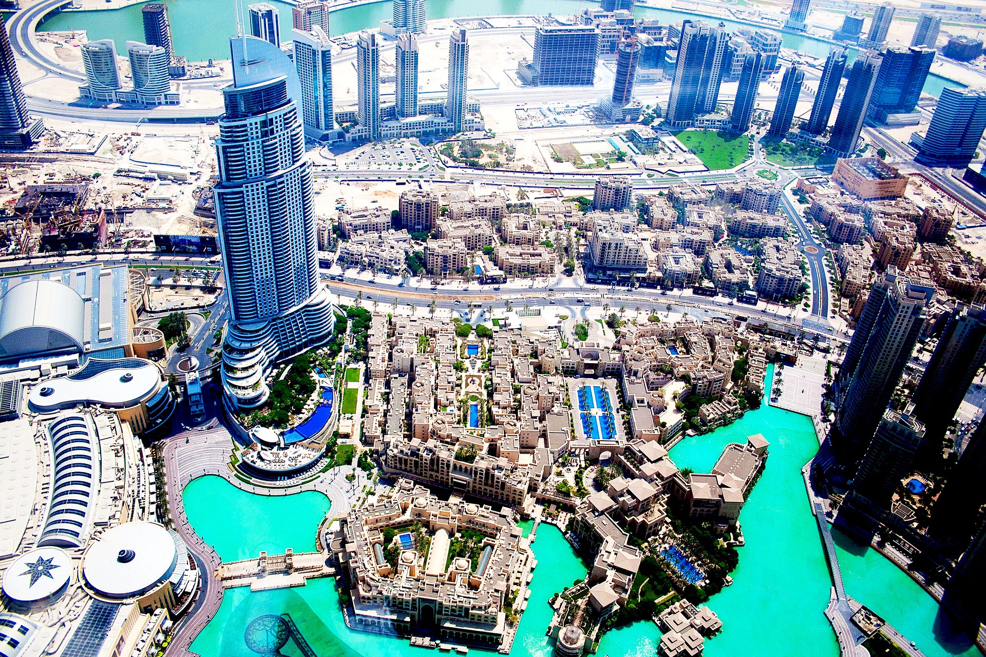 Aerial view Burj Khalifa Lake, with the Dubai Fountain, Dubai