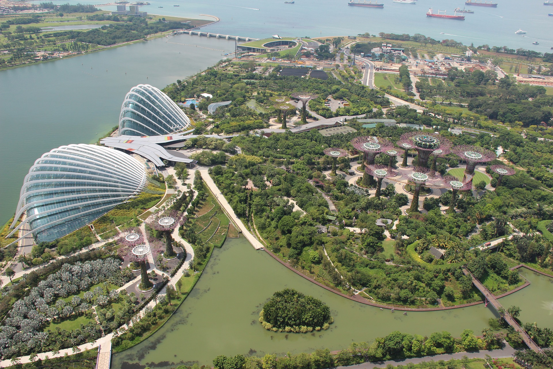 Aerial view of Gardens by the Bay, Singapore