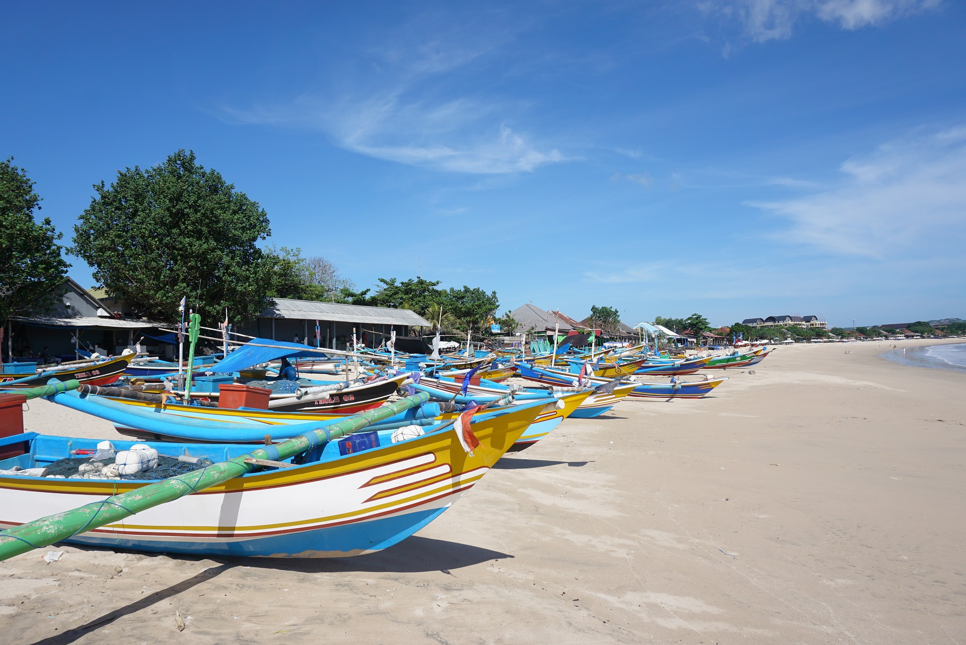 Boats on beach in Bali, Indonesia