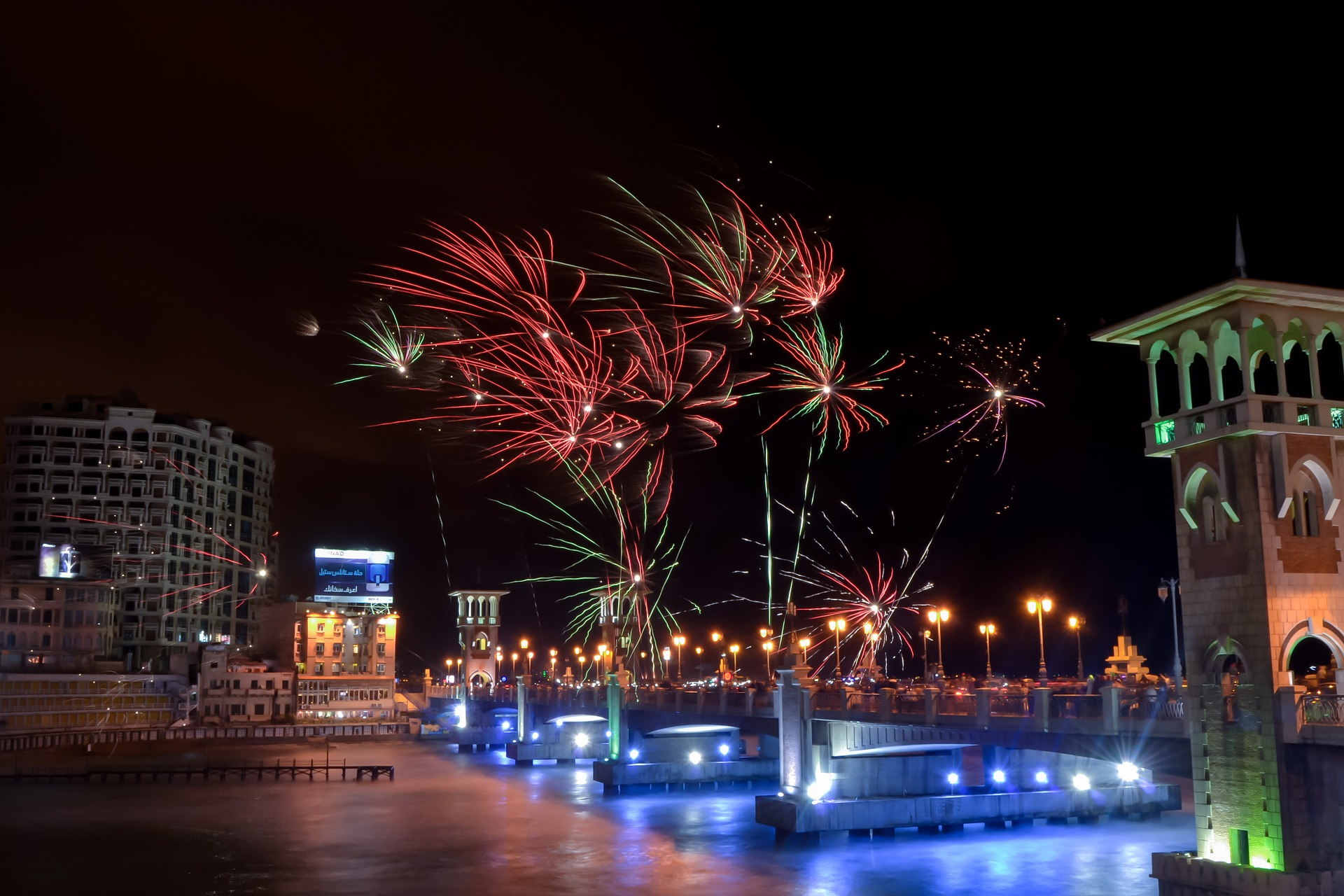 Fireworks over Stanley Bridge, Alexandria, Egypt