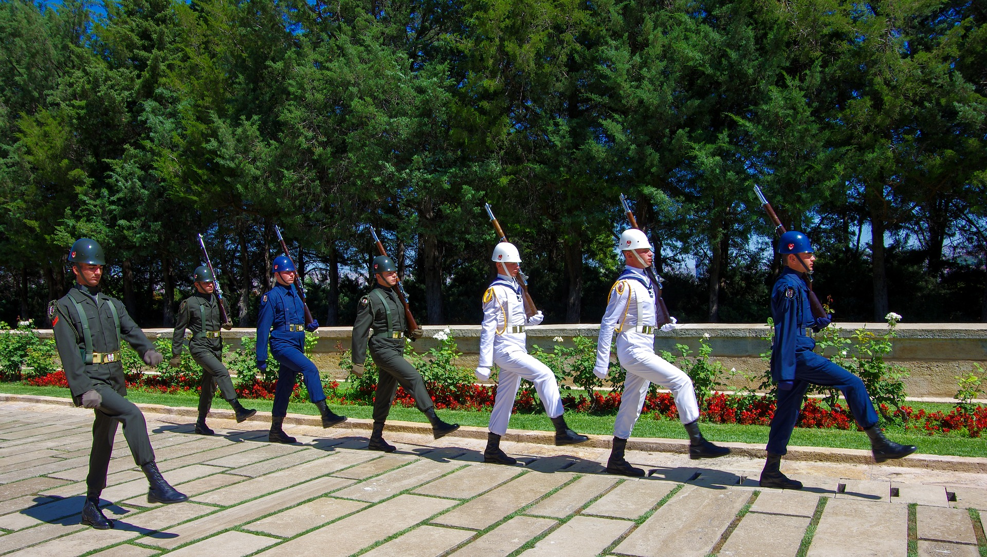 Soldiers from the Hall of Honour in Ataturk Mausoleum in Ankara, Turkey