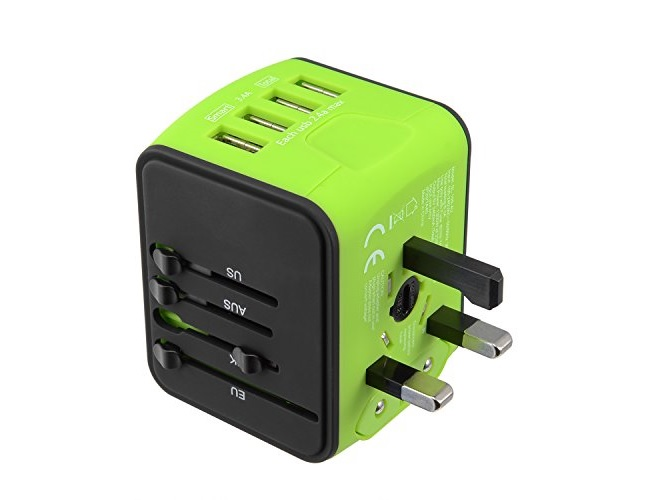 International Travel Power Adapter 4 USB Worldwide Travel Charger