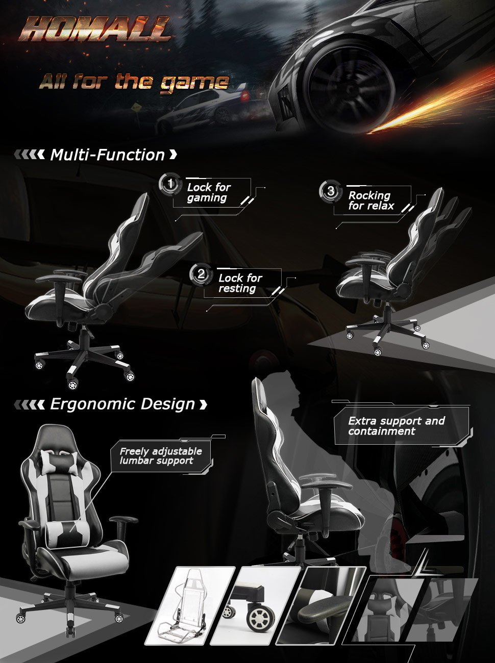 Homall Executive Swivel Leather Racing Style Gaming Chair