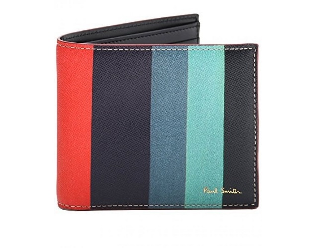 Paul Smith Men's Striped Saffiano Leather Billfold Wallet Multi Coloured One Size