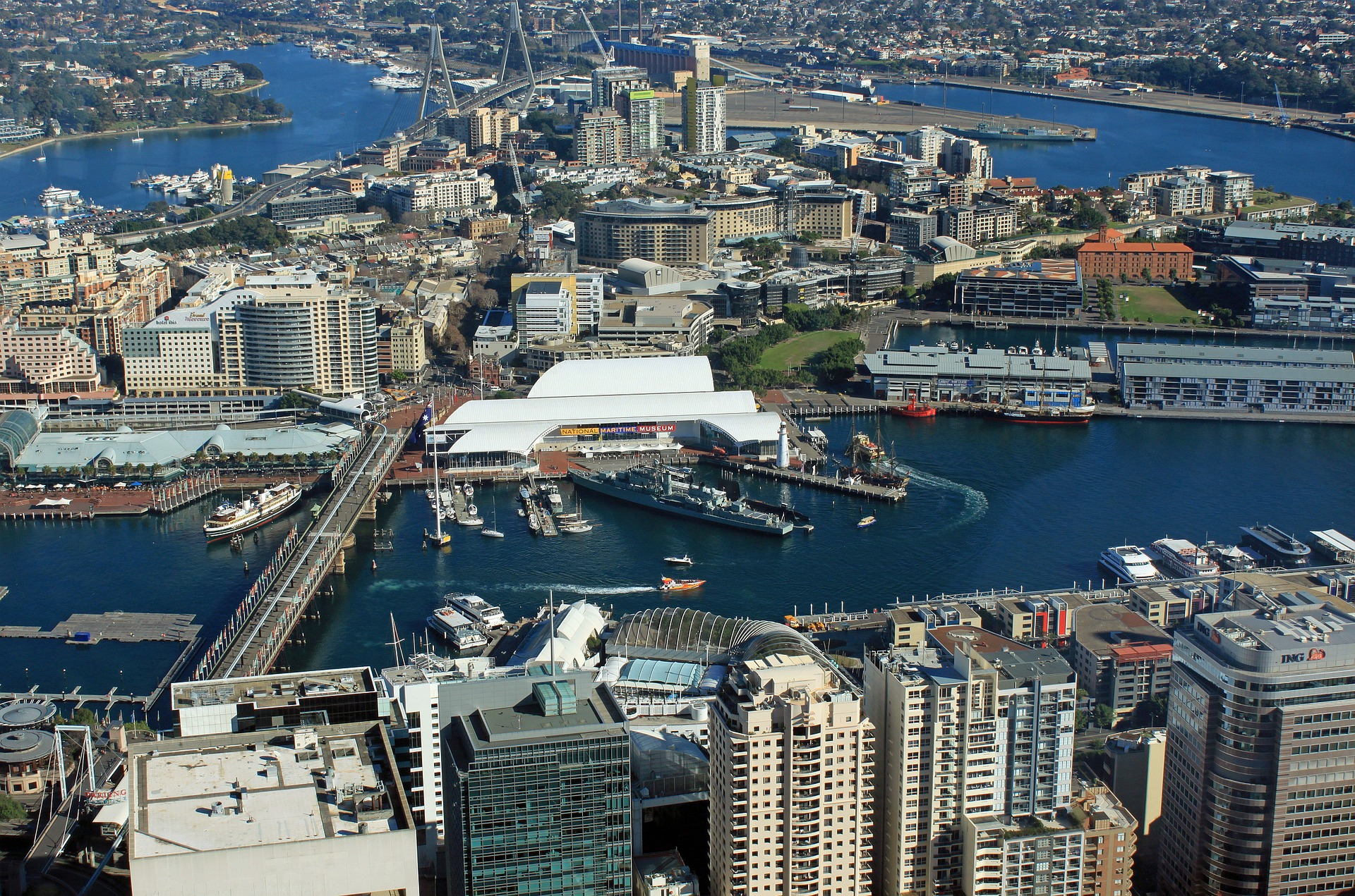 Aerial view of Darling Harbour, Sydney, Australia