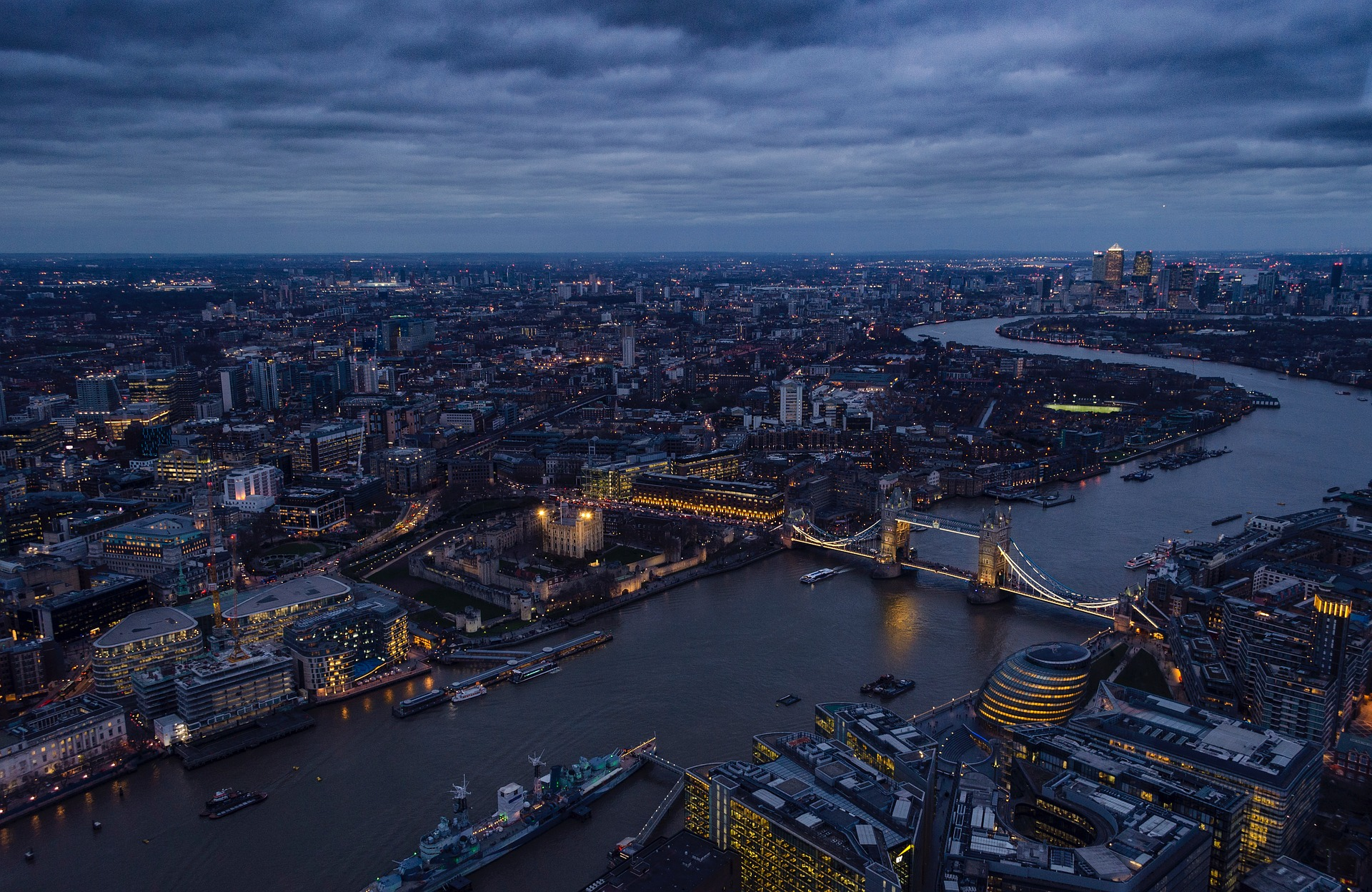 Aerial view of London, UK at night