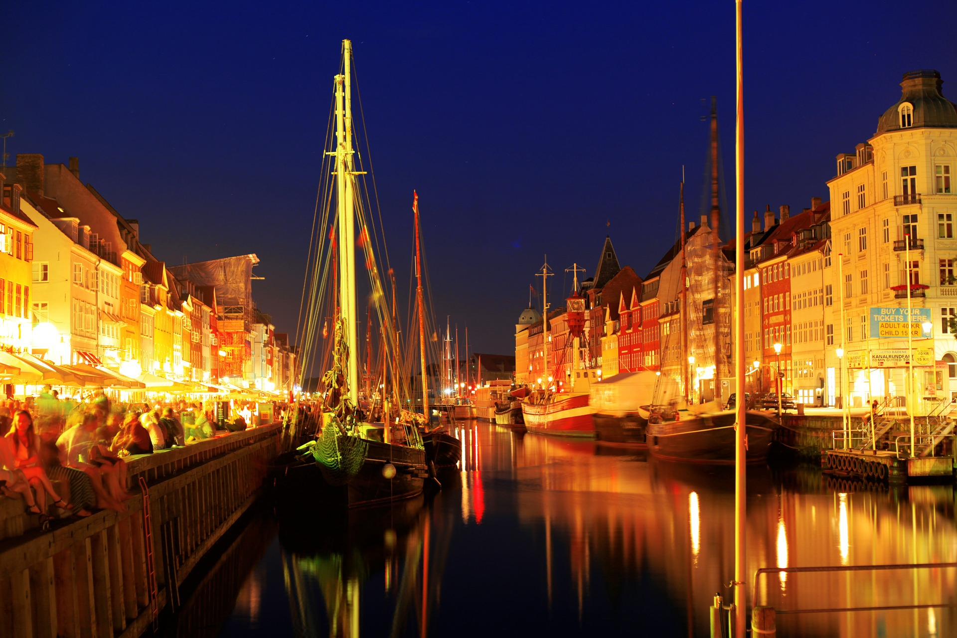 Copenhagen, Denmark at night