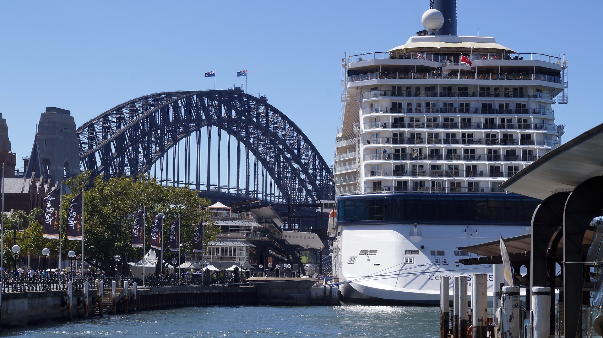 Cruise ship and Sydney Harbour Bridge, Sydney, Australia