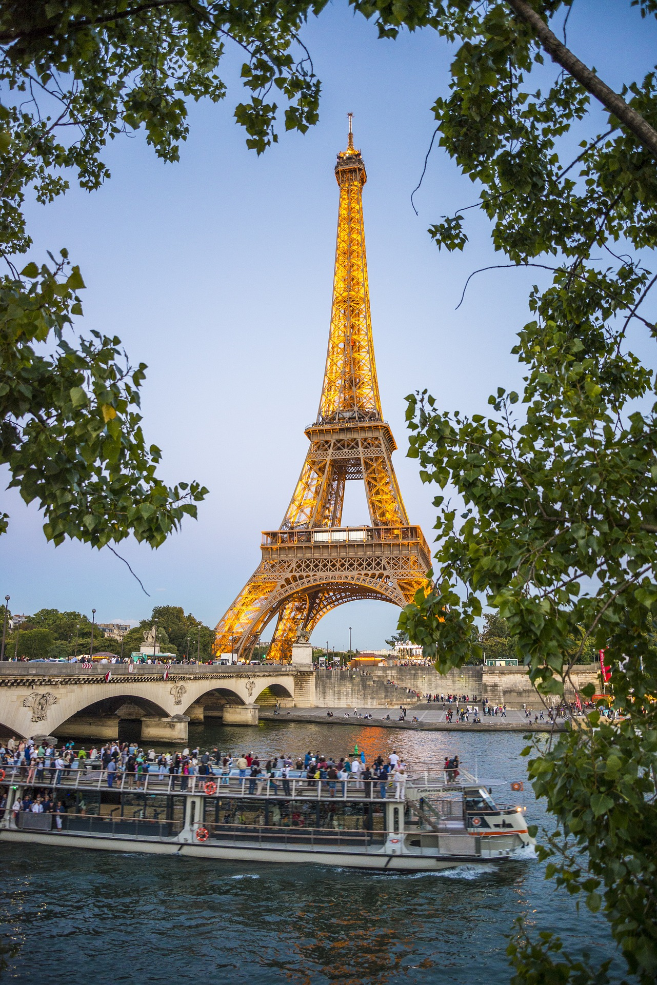 Eiffel Tower in its golden colour