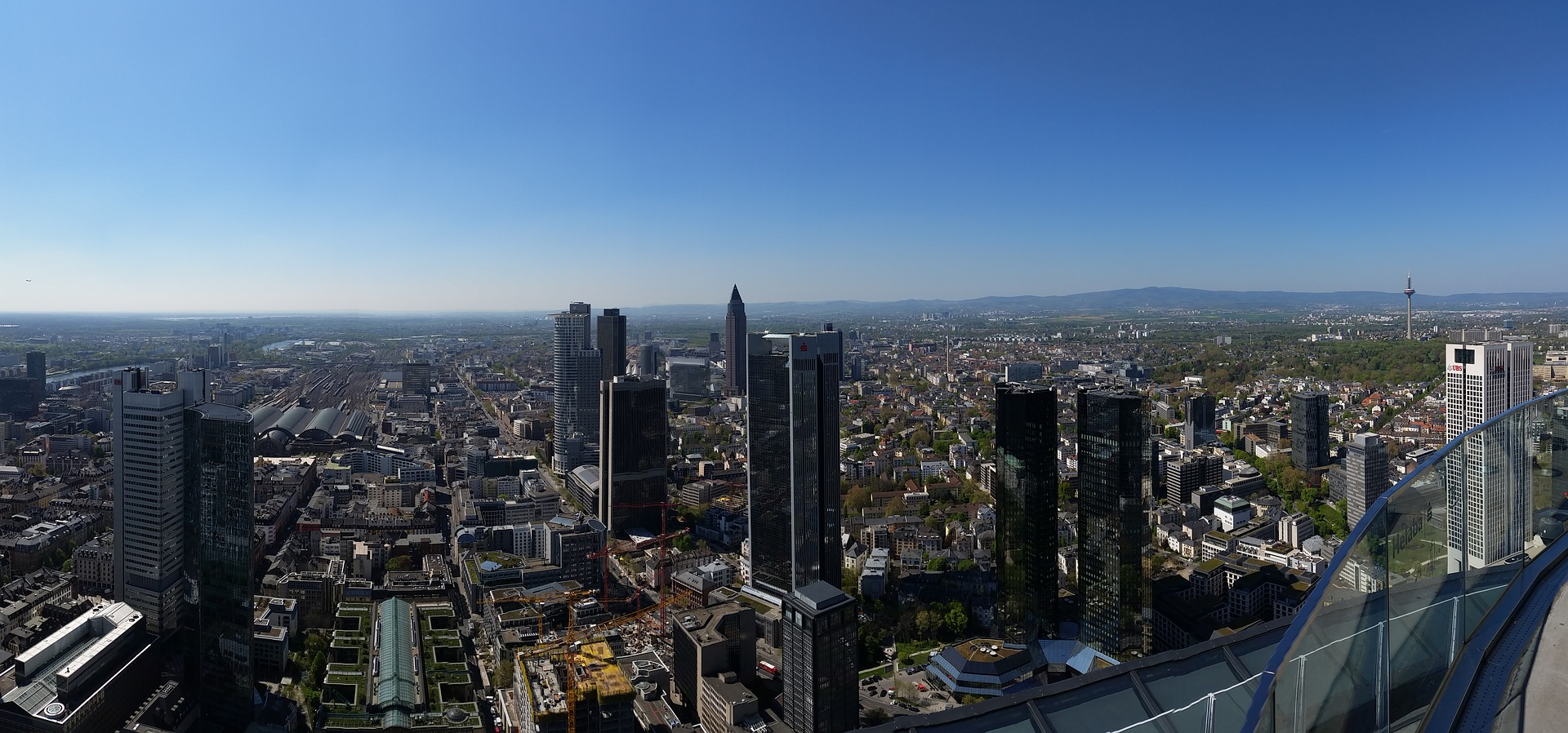 Aerial view of Frankfurt with Deutsche Bank Towers, Germany