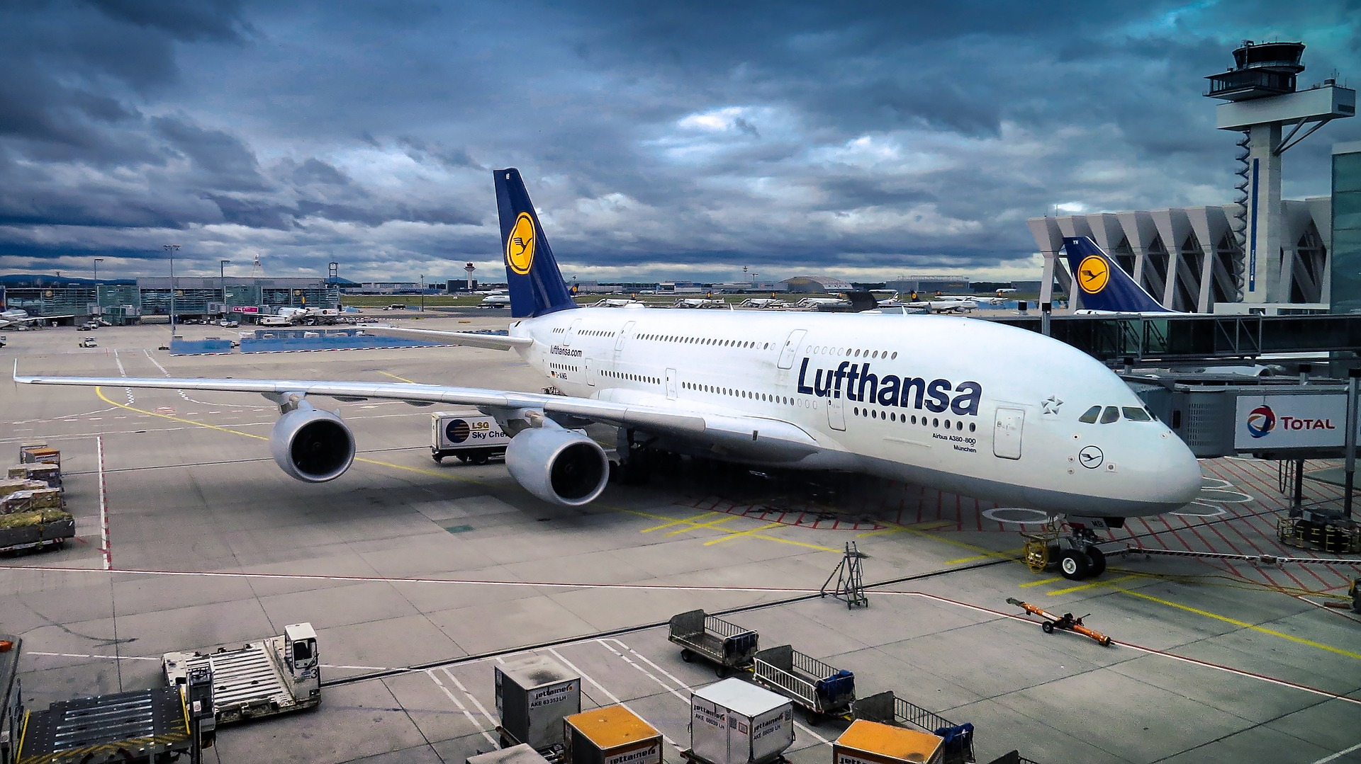 Airbus A380 aeroplane at Frankfurt Airport, Germany