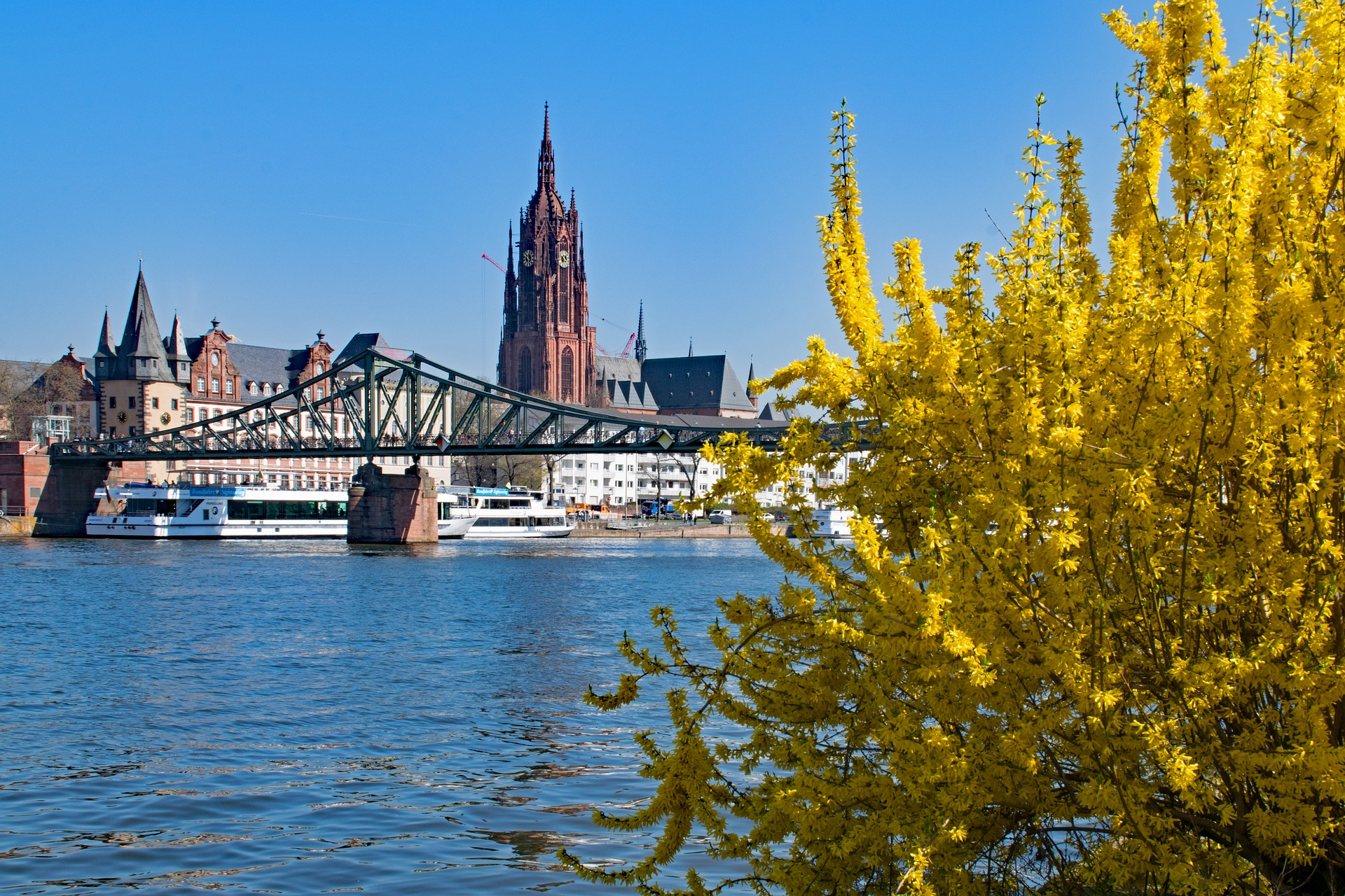 River main with Frankfurt Cathedral in backgorund, Germany