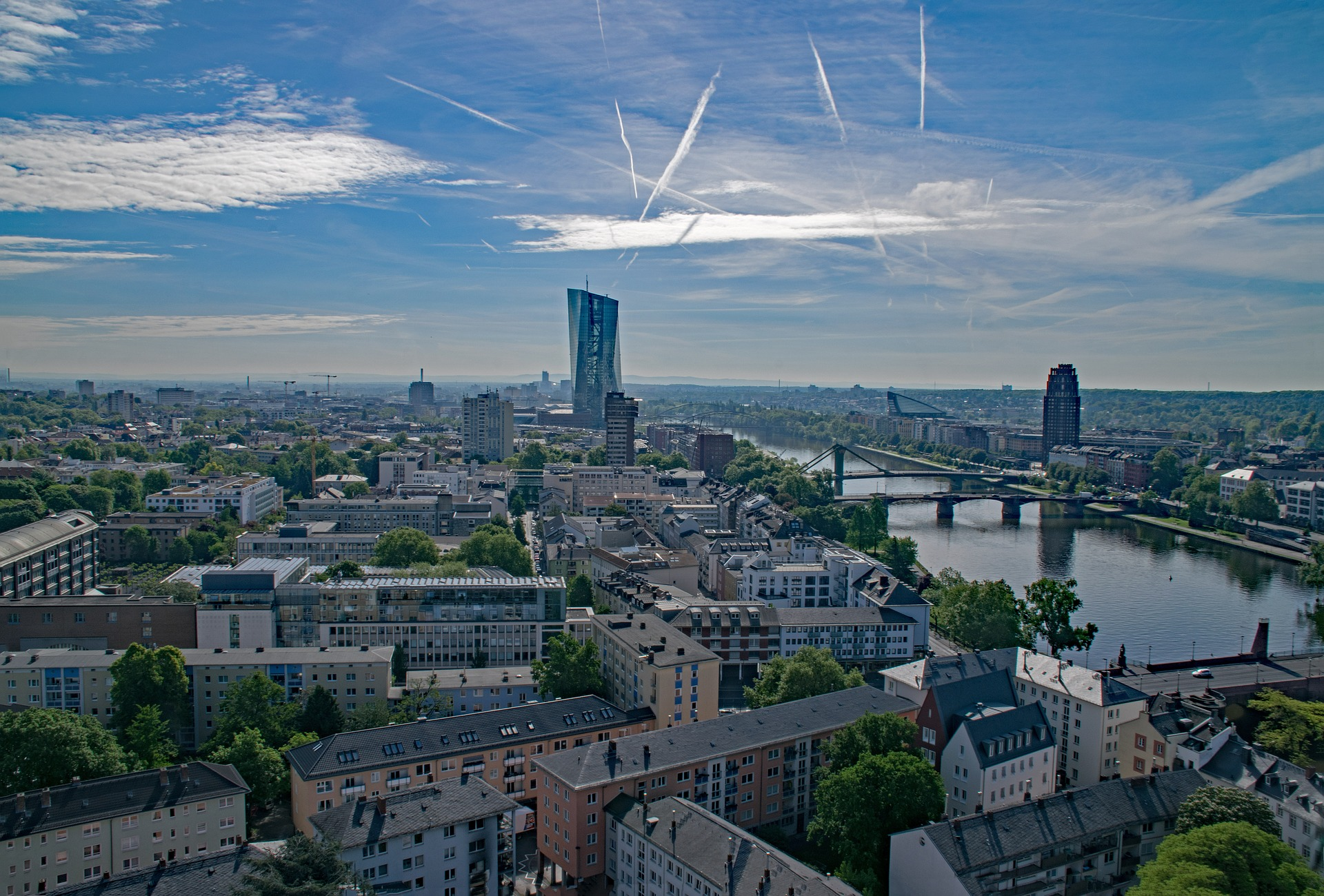 View of Frankfurt, Germany with European Central Bank tower
