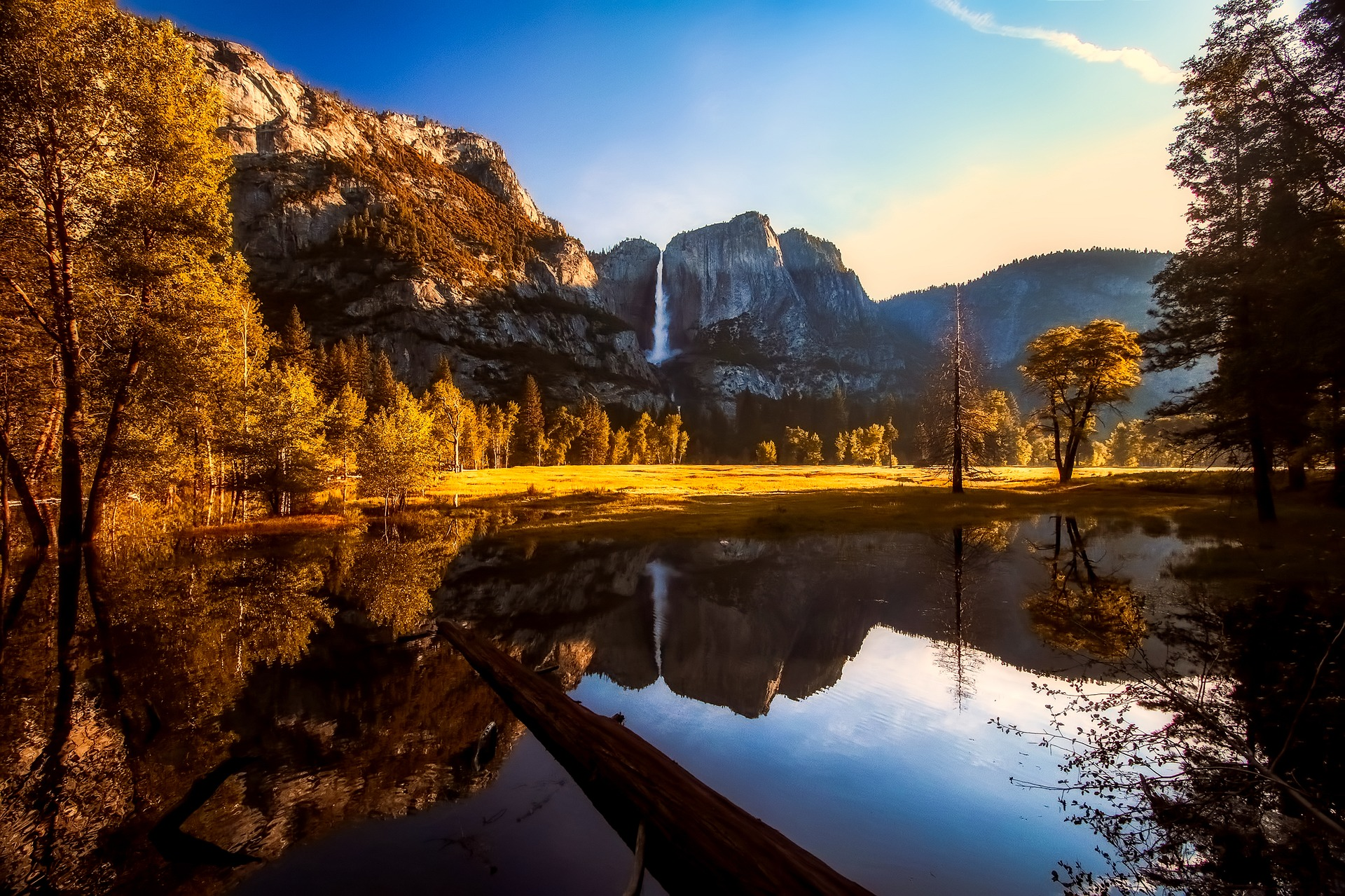 Waterfall reflection at Yosemite National Park, California, USA