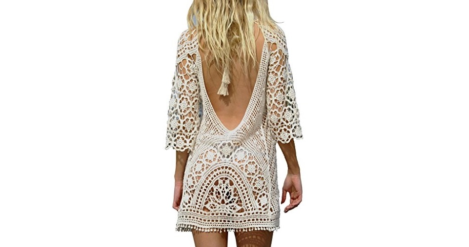 20e2de9371 Women's Bathing Suit Cover Up Crochet Lace Bikini Swimsuit Dress ...
