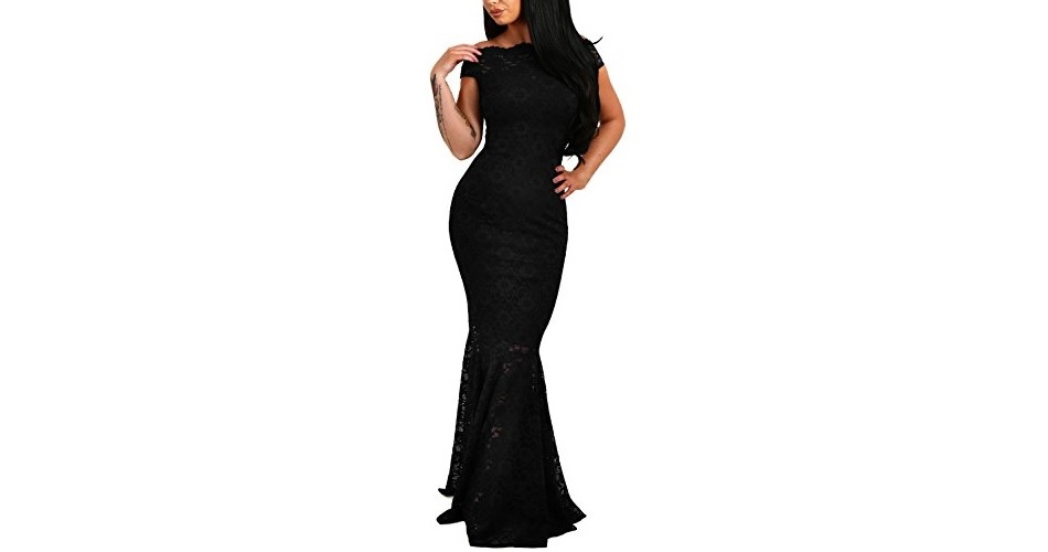 f73b8165ea5 Elapsy Womens Sexy Off Shoulder Bardot Lace Evening Gown Fishtail ...