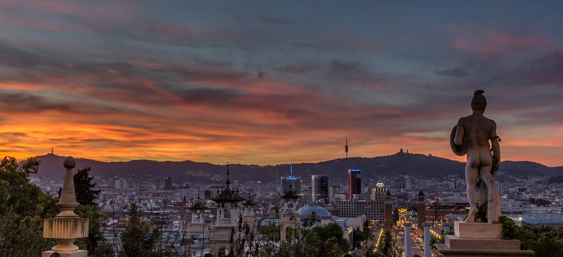 Sunset over Barcelona, Spain