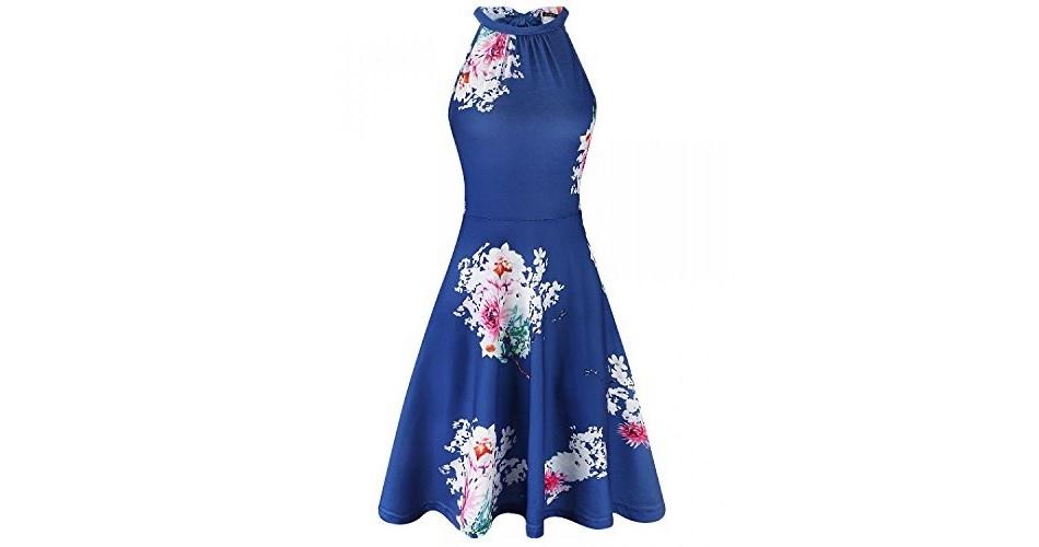 d19d27484de OUGES Women s Halter Neck Floral Summer Casual Sundress