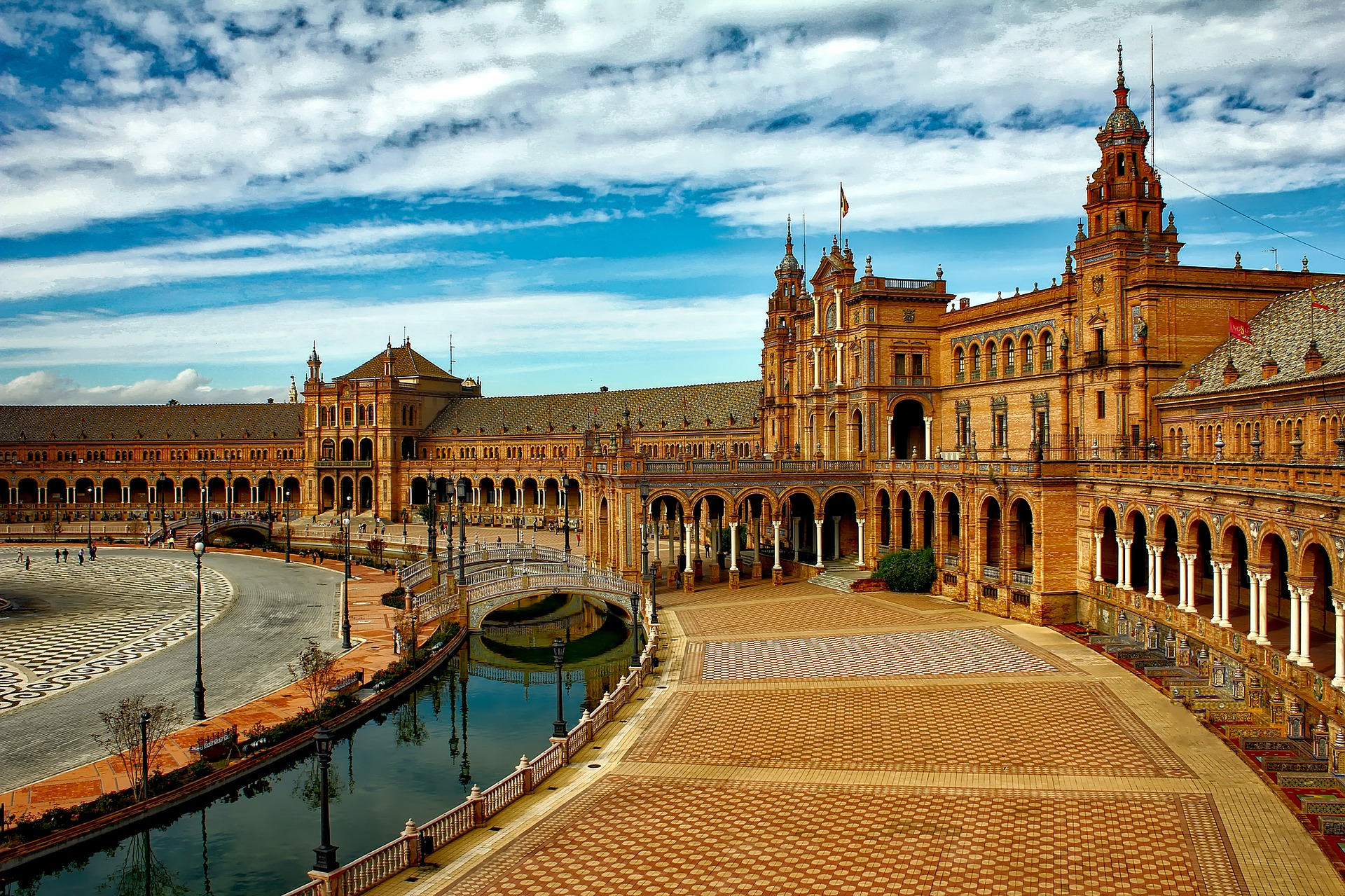 The Plaza de España, in Seville, Spain