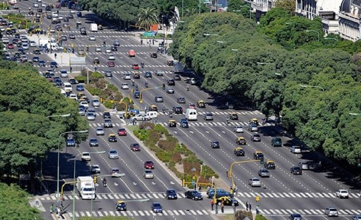 9 de Julio Avenue in Buenos Aires, Argentina, apparently the widest street in the world