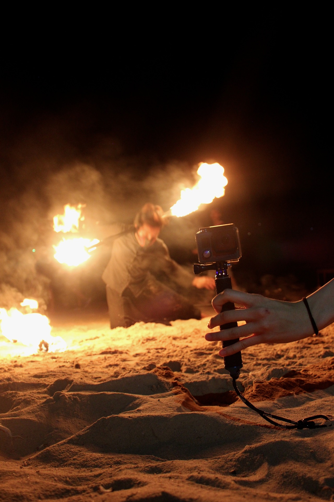 Action camera capturing fire show