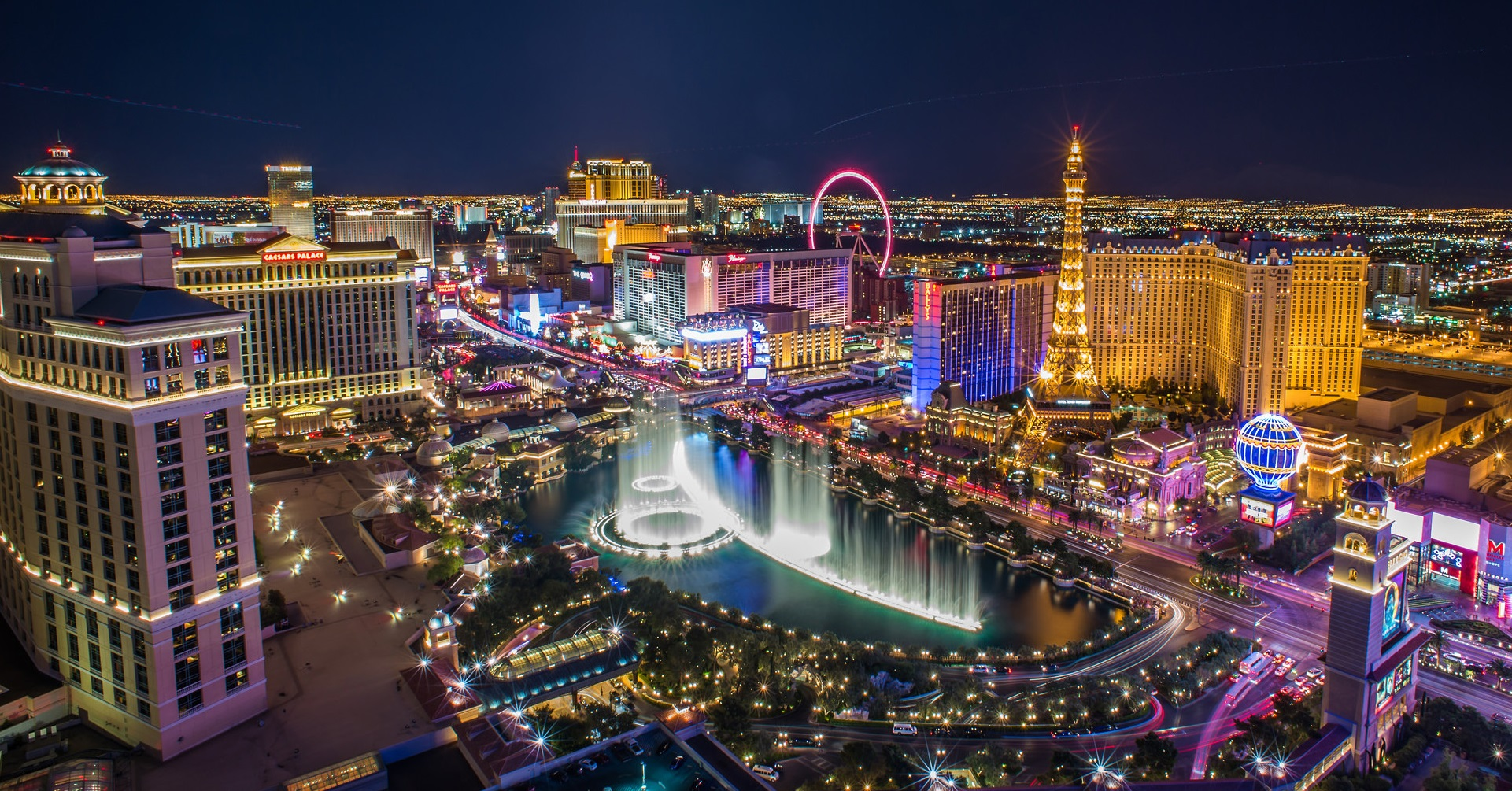 Aerial View of Las Vegas At Night