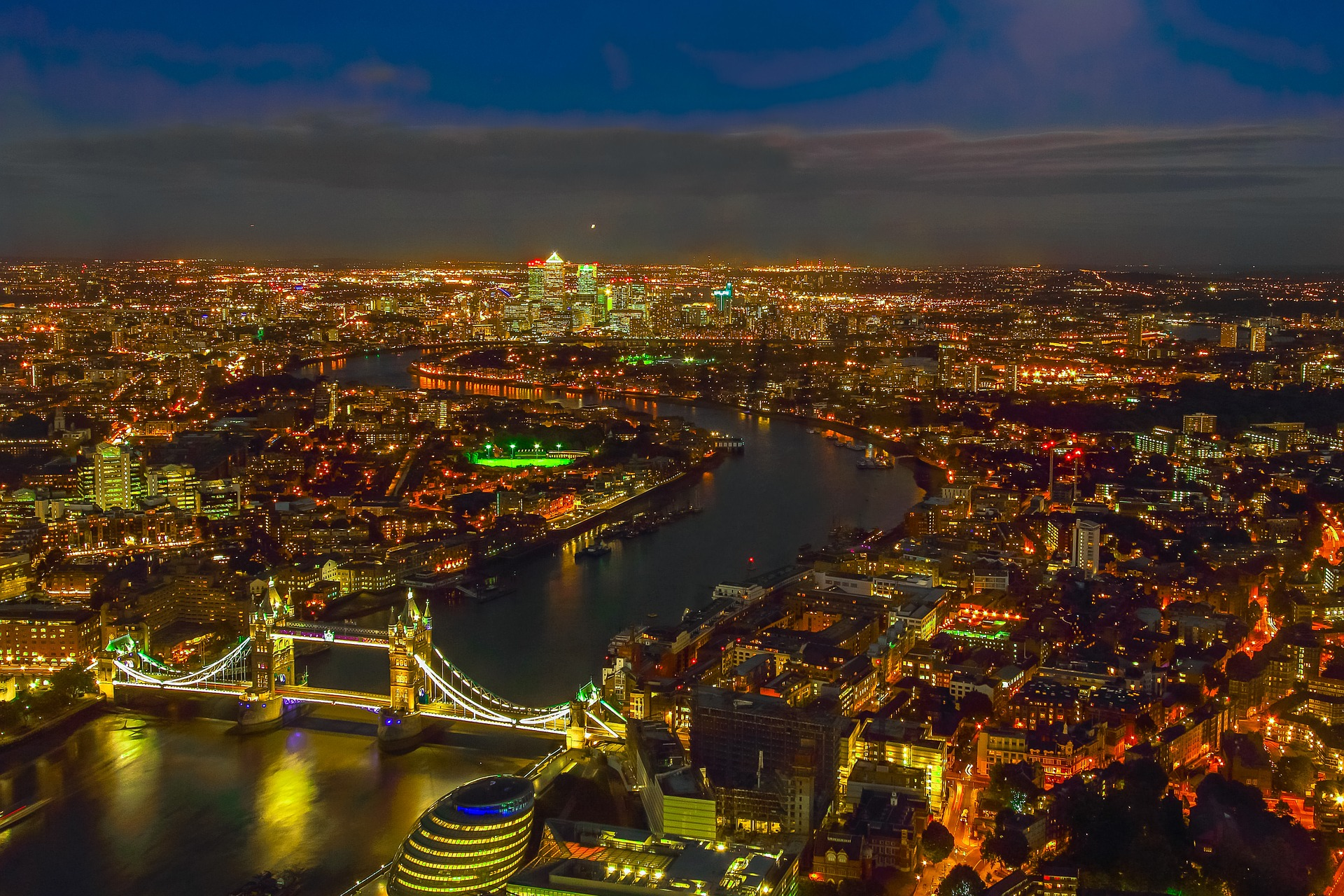 Aerial view of London, England at night