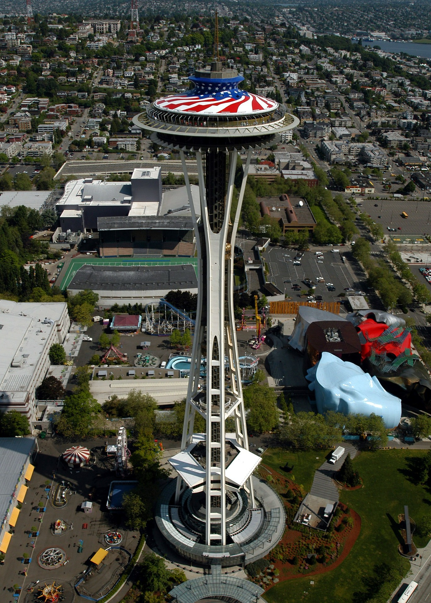 Aerial view of The Space Needle, Seattle, Washington