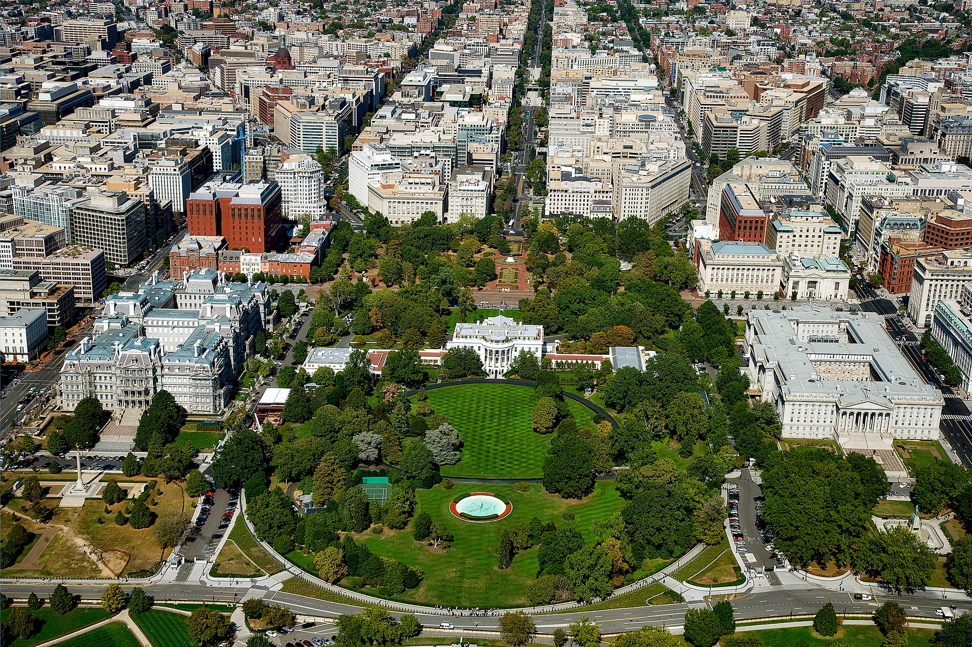 Aerial view of Washington, D.C. with The White House in center