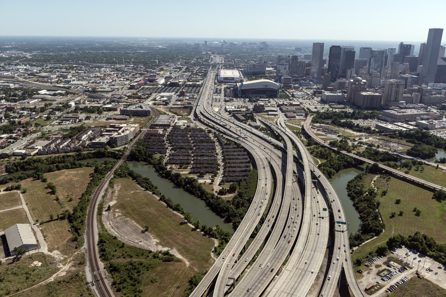 Aerial view of highways in Houston, Texas