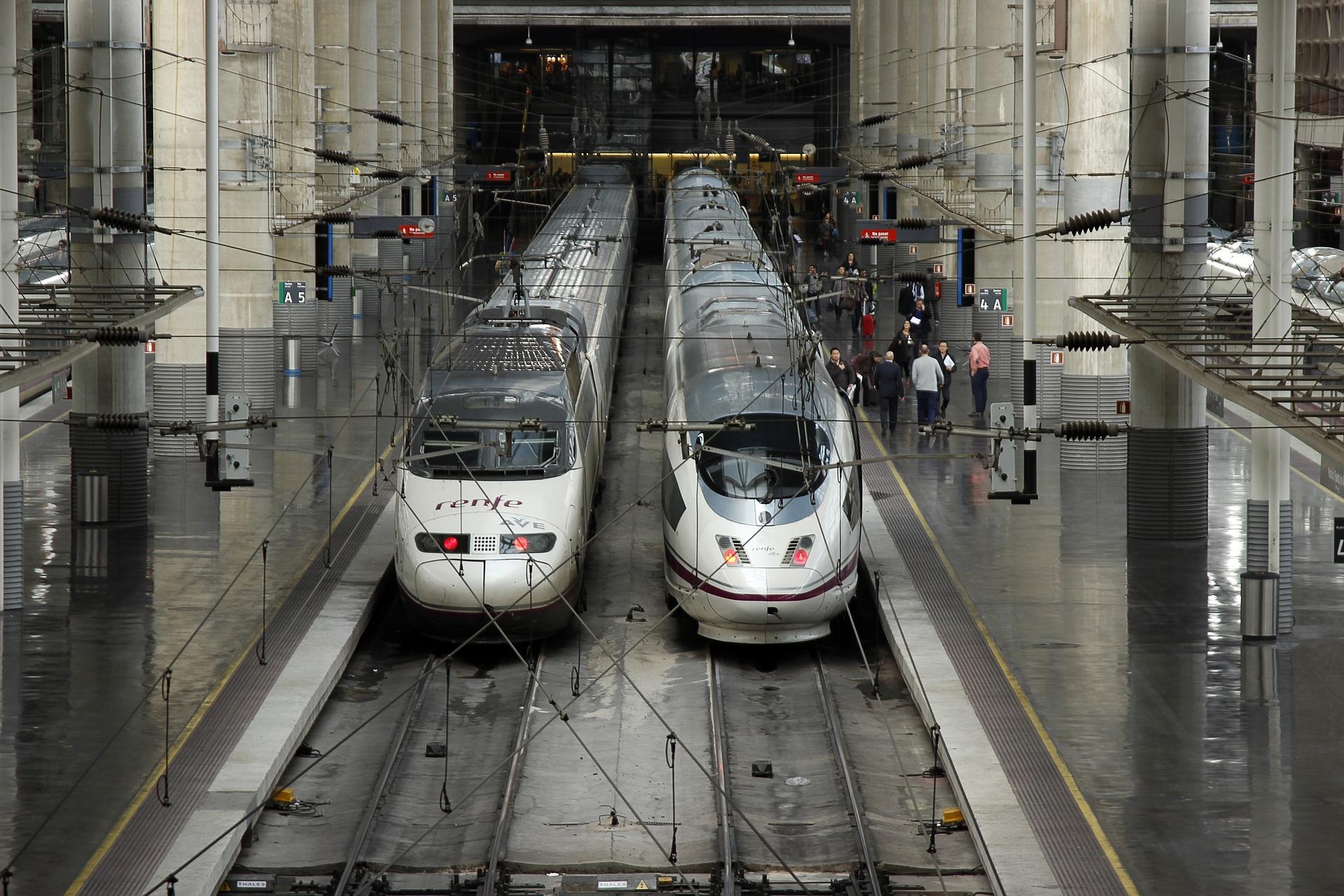 Alta Velocidad Española (AVE) trains in Madrid, Spain
