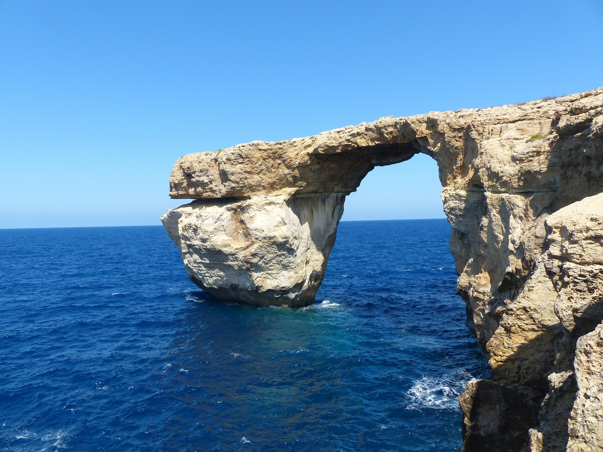 Malta's famous Azure Window rock formation, which has now collapsed