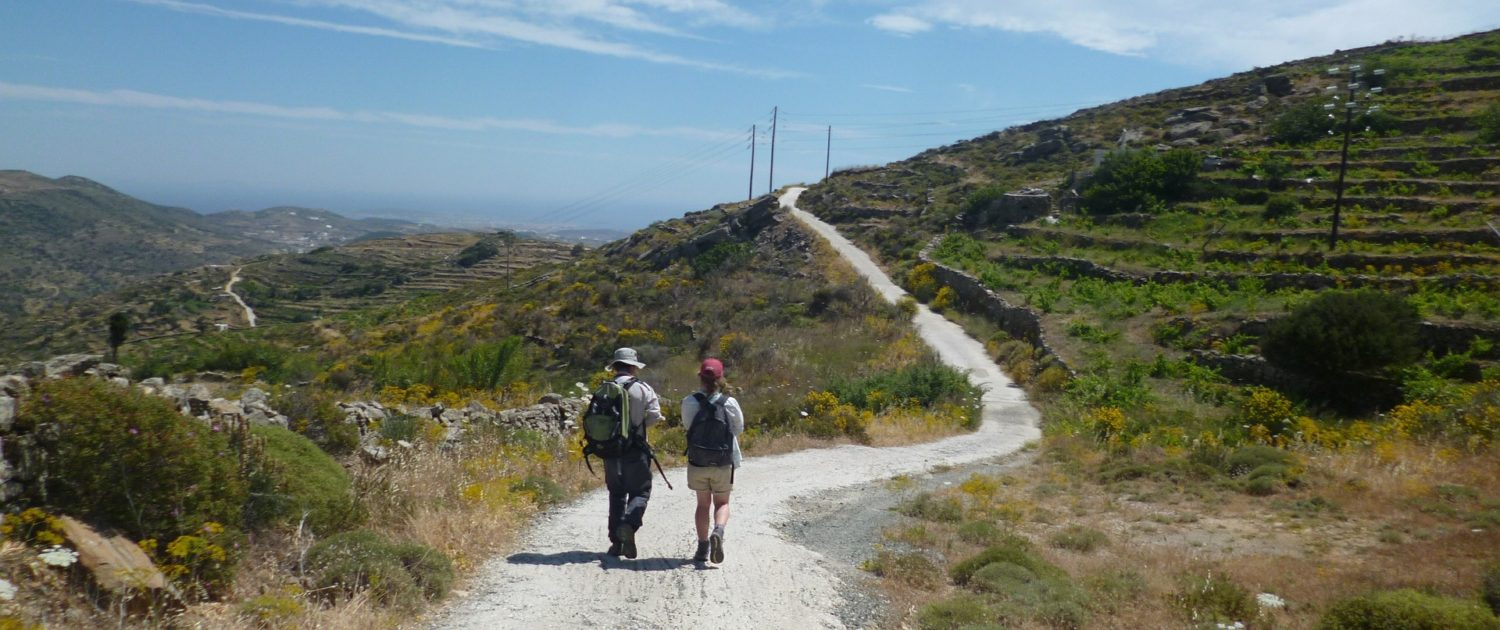Backpackers in Cyclades, Greece