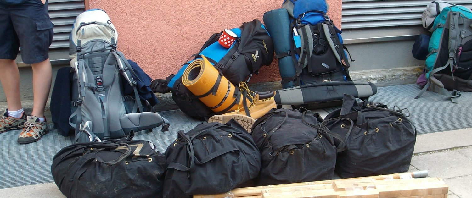 Backpackers' travel gear