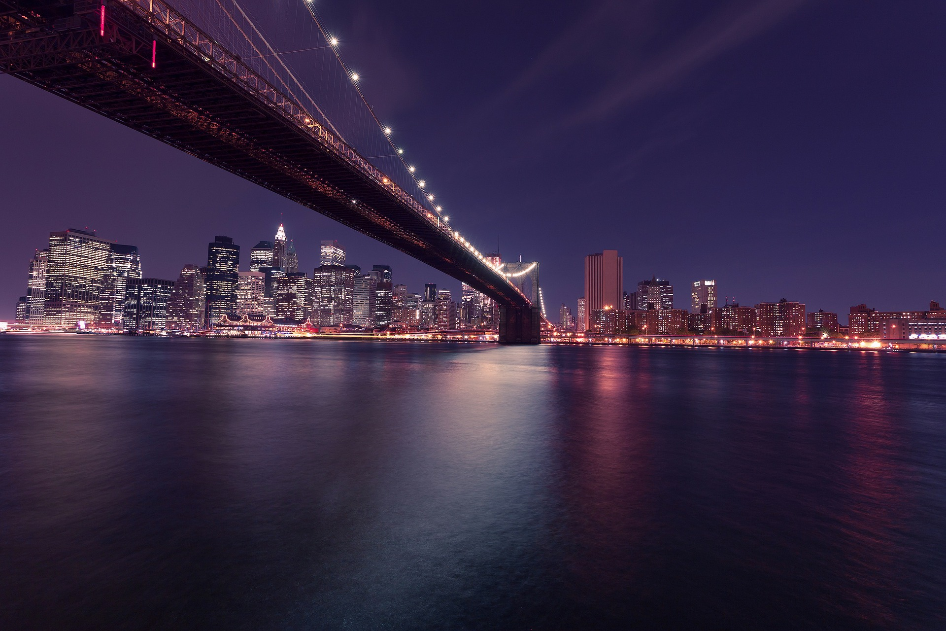 Brooklyn Bridge, New York City at night
