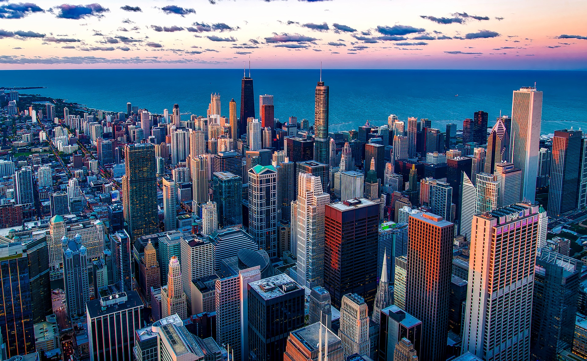 Chicago, Illinois with Lake Michigan in background