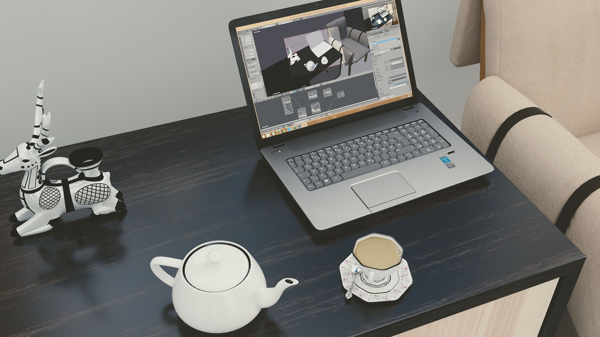 Cup of tea next to laptop on desk
