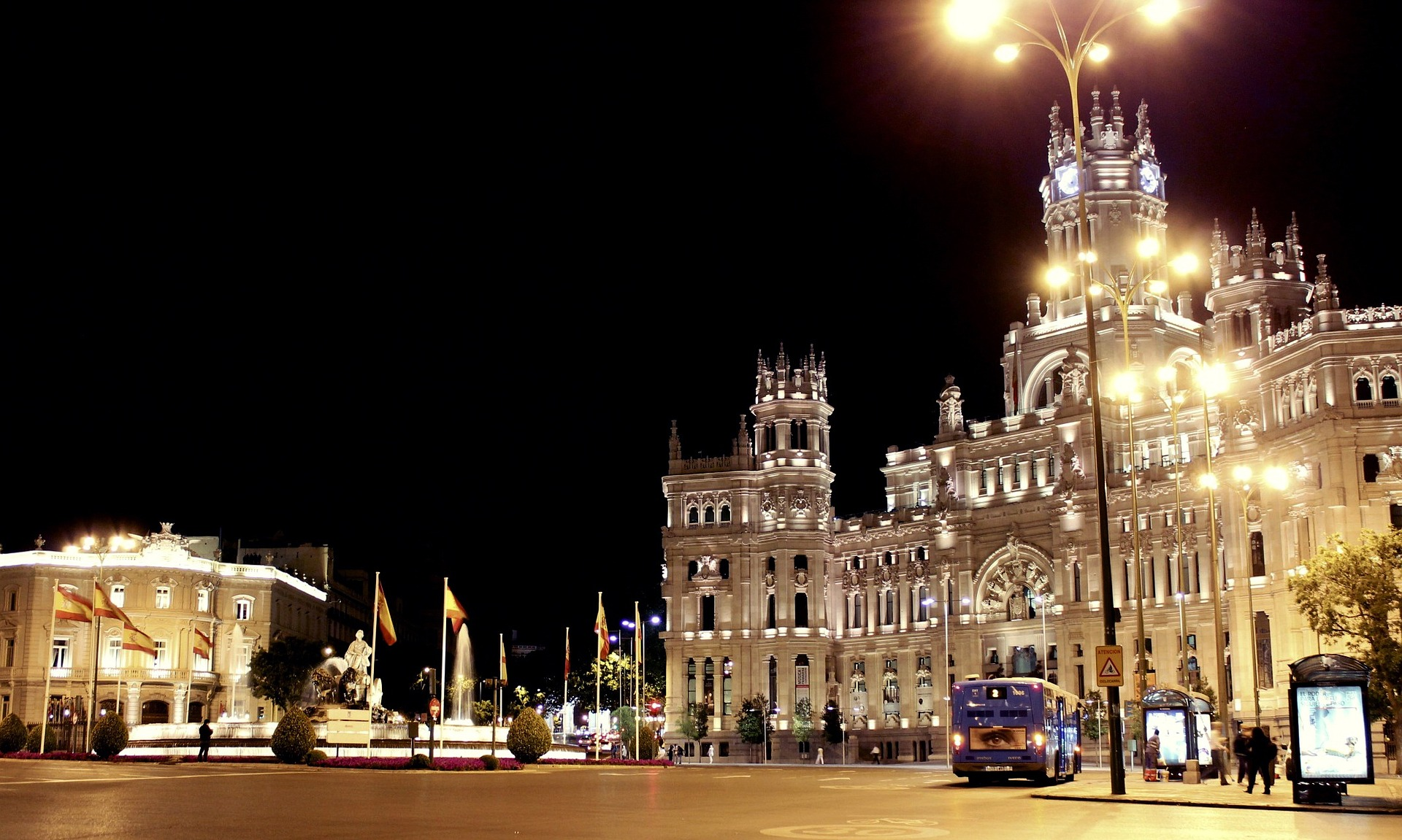 Cybele Palace, Madrid, Spain at night