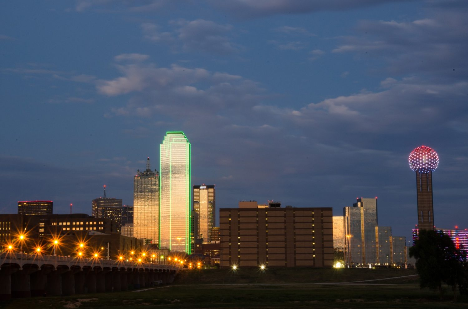 Dallas, Texas, USA with the Reunion Tower on the right
